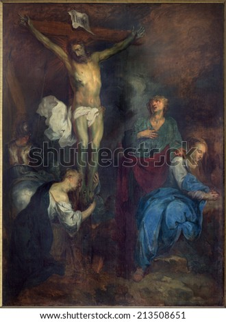 BRUGES, BELGIUM - JUNE 12, 2014: The Crucifixion by L. Dedeyster (1634)  in st. Jacobs church (Jakobskerk).