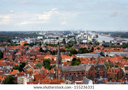 BRUGES, BELGIUM - SEPT 14: View from the belfry  tower on September 14 in Bruges (Brugge), Belgium.  The historic city centre is a prominent World Heritage Site of UNESCO. - stock photo