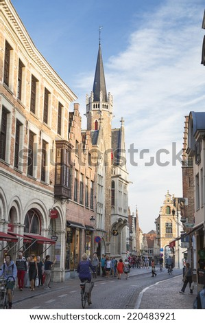 BRUGES, BELGIUM - SEPTEMBER 17, 2014: typical town houses of bruges declared patrimony of humanity, Belgium