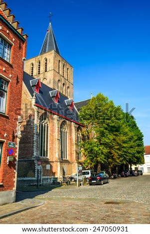 Bruges, Belgium. Sint-Gilliskerk or Saint Gillis Church in Brgugge, medieval religious architecture in Flanders.
