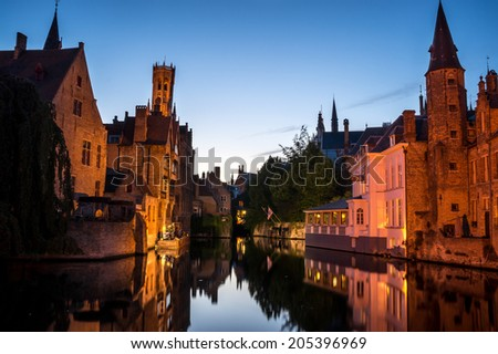 Bruges Canal and reflections taken in Bruges, Belgium