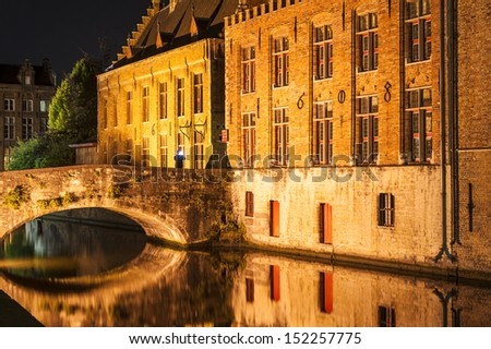 Bruges Canal by night - stock photo