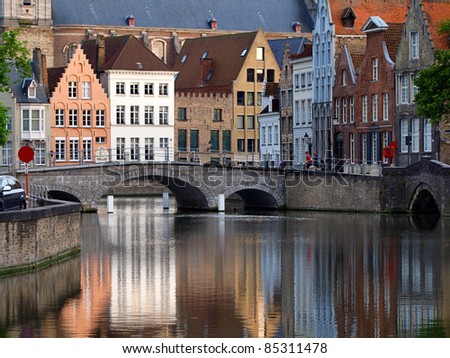 Bruges city river - stock photo