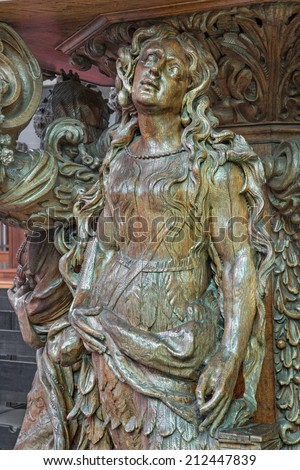 BRUGGE, BELGIUM - JUNE 12, 2014: The carved statue st. Mary of Magdalen on the pulpit in st. Jocobs church (Jakobskerk) by B. de Lannoy (1685-1689)