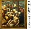 BRUGGES, BELGIUM - MAY 4: The detail of triptych high altar by Bernaert van Orley in Church of Our Lady on May 4, 2005 in Brugges. - stock photo