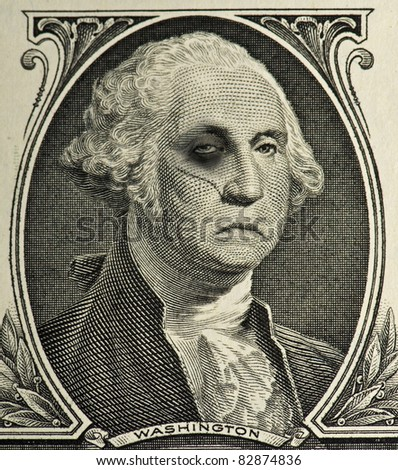 Bruised and Battered George Washington - stock photo