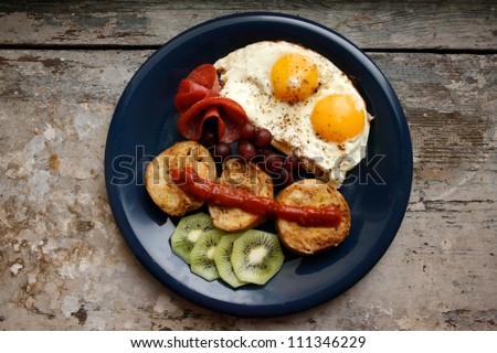 Brunch eggs and typical german knoedels - stock photo