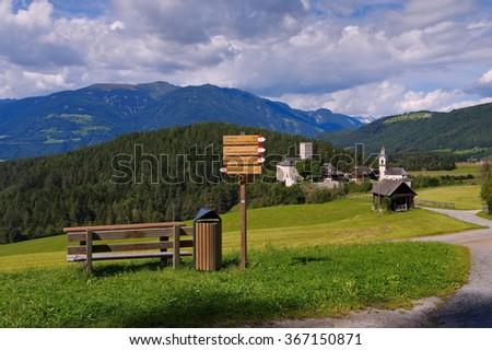 Bruneck in alto Adige, the castle Lamprechtsburg - stock photo