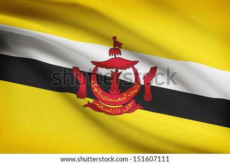 Brunei flag blowing in the wind. Part of a series. - stock photo