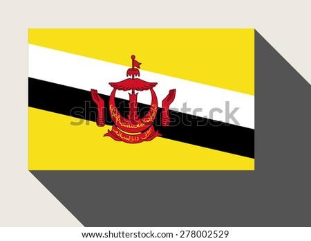 Brunei flag in flat web design style. - stock photo