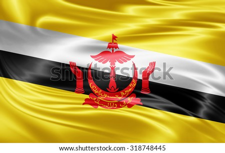 Brunei  flag of silk  - stock photo