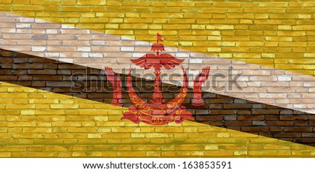 Brunei flag on texture brick wall.
