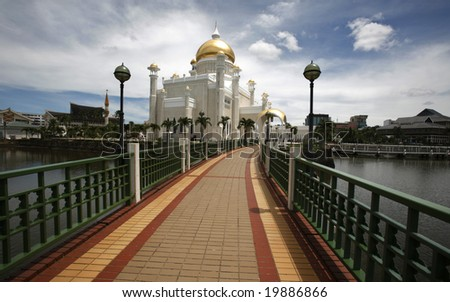 Brunei's landmark, national mosque Sultan Omar Ali Saifuddin Mosque. - stock photo