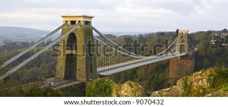 Brunel's Famous Clifton Suspension Bridge, Bristol, England UK - stock photo