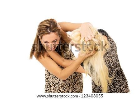 Brunette and blonde girls fighting - stock photo