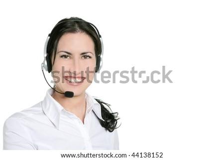 Brunette beautiful businesswoman headset microphone - stock photo