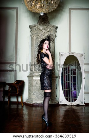 Brunette beautiful woman. Vintage style. Fashion photo - stock photo