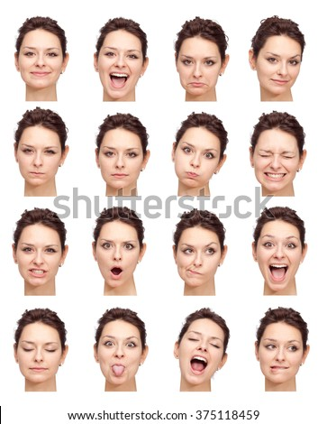 brunette beautiful young caucasian woman collection set of face expression like happy, sad, angry, surprise, yawn isolated on white