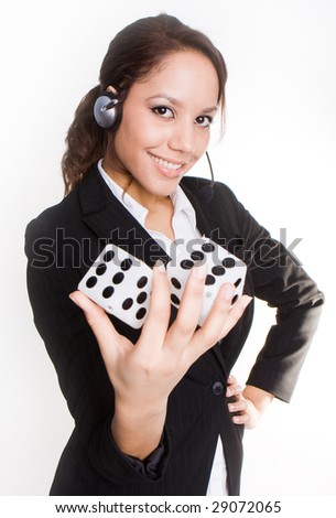 brunette business woman holding dice - stock photo