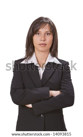 Brunette businesswoman against a white background. - stock photo