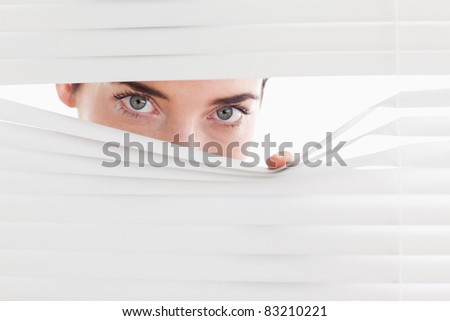 Brunette businesswoman peeking through a venetian blind in an office - stock photo