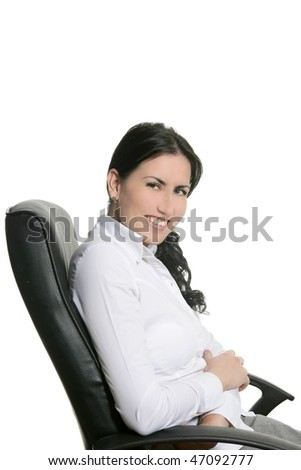 Brunette businesswoman sit on black office chair white background - stock photo