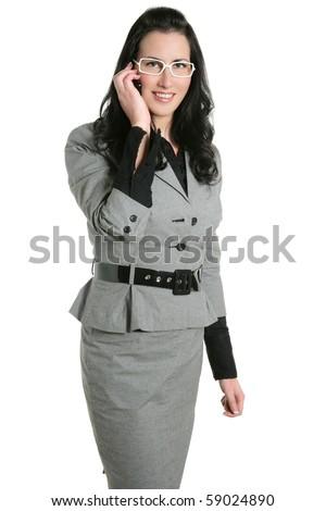 Brunette businesswoman talking mobile phone white background - stock photo