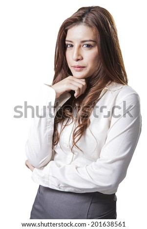 Brunette businesswoman with listening music on the desk sitting at office relaxation isolated on white back ground