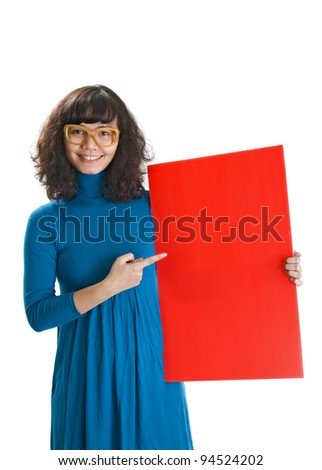 Brunette curly woman, hold red banner. Isolated over white background