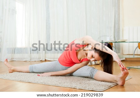 Brunette doing physical exercises at home - stock photo