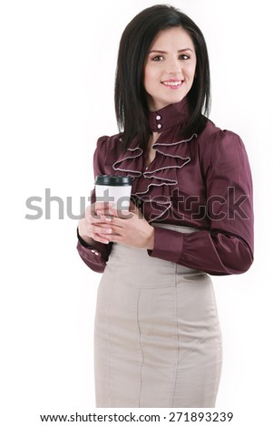 Brunette elegant young woman with coffee isolated on white - stock photo