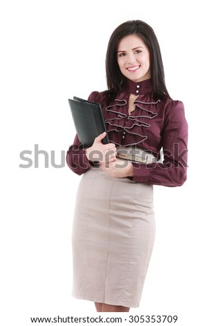 Brunette elegant young woman with documents  isolated on white - stock photo