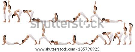 brunette exercising yoga sequence on white background - stock photo