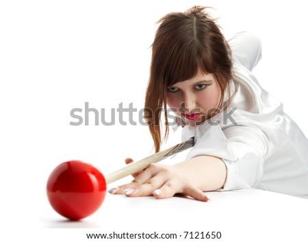 brunette game of billiards on white background - stock photo