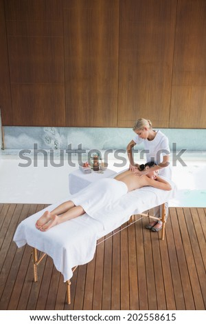 Brunette getting a back massage at the spa - stock photo