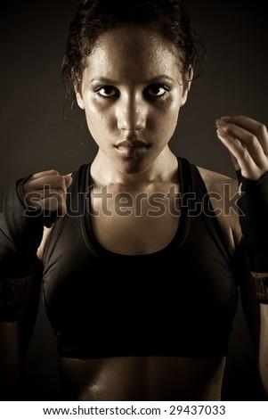 brunette girl doing workout - stock photo