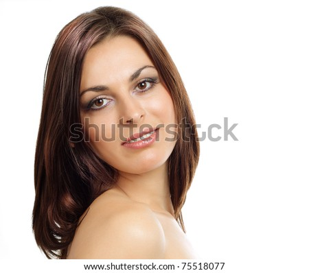 Brunette girl looking at camera, isolated on a white