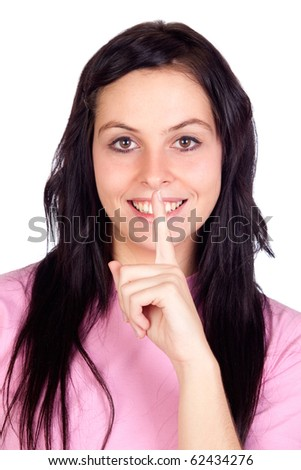 Brunette girl ordering silence isolated on a over white background - stock photo