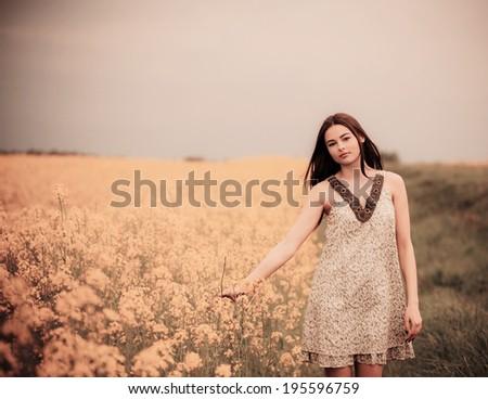 brunette girl outdoor - stock photo