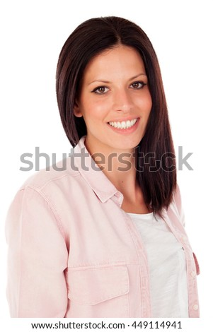 Brunette girl with a beautiful smile looking at camera isolated on a white background
