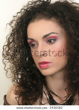Brunette girl with attractive makeup