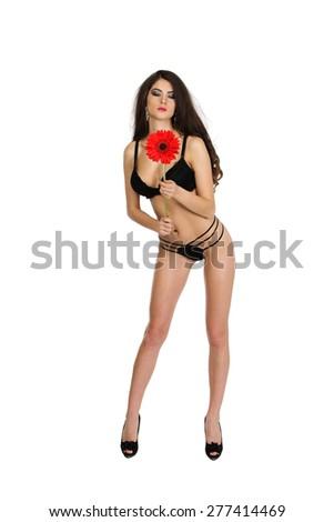 Brunette girl with gerbera flower, isolated on white - stock photo