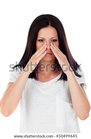 Brunette girl with headache isolated on a white background - stock photo