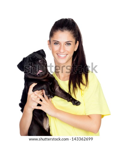 Brunette girl with her pug dog isolated on white background - stock photo