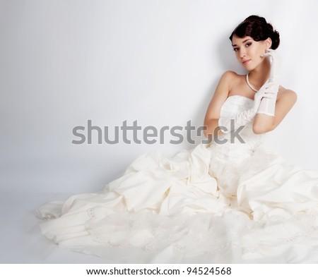 Brunette hair bride portrait - stock photo