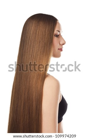 Brunette in the studio with long hair