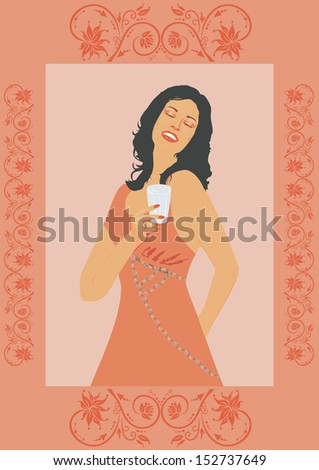 Brunette lady with alcoholic drink - stock photo
