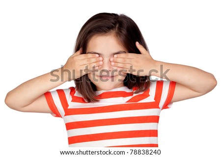 Brunette little girl covering the eyes isolated on a over white background - stock photo