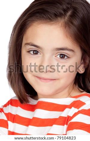 Brunette little girl isolated on a over white background - stock photo