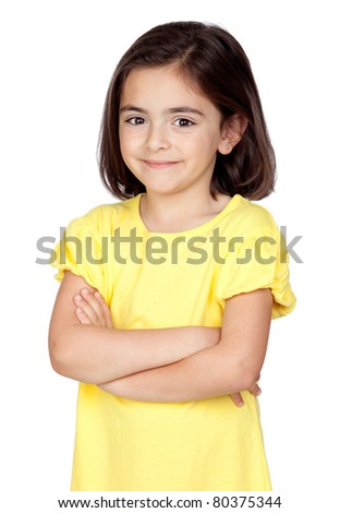 Brunette little girl isolated on a over white background - stock photo